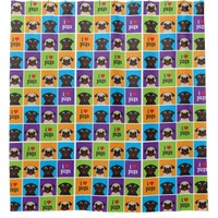 I Love Pugs Color Squares Pattern Shower Curtain