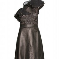 mytheresa.com - Valentino - LEATHER AND LACE COCKTAIL DRESS - Luxury Fashion for Women / Designer clothing, shoes, bags