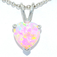 1.5 Carat Pink Opal Heart Pendant .925 Sterling Silver Rhodium Finish White Gold Quality
