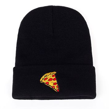 Embroidered Pizza Beanie