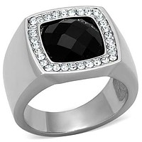 Mens Stainless Steel Rings TK1616 Stainless Steel Ring with Semi-Precious