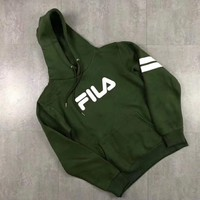 FILA Fashion Casual Men Wool Embroider Long Sleeve Pullover Hoodie Sweater G-MG-FSSH