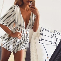 White Striped V-Neck Cut Out Romper
