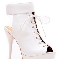 Qupid White Cuff Up Lace Up Corset Peep Toe Booties