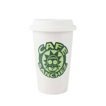 Rick and Morty Cafe Sanchez Coffee Cup with Lid