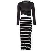 Turtle Neck Long Sleeve Crop Top + Bodycon Striped Maxi Skirt Twinset