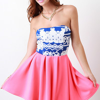 Strapless Paisley Contrast Dress