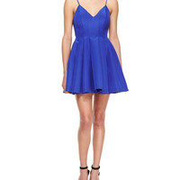 Star Crossed Pleated Fit-and-Flare Dress, Blue, Size: