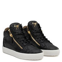 Giuseppe Zanotti Gz Kriss Black Crocodile Embossed Calfskin Leather Mid-top Sneaker