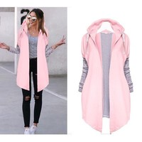 Pink Plain Drawstring Long Sleeve Hooded Casual Coat