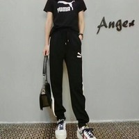 """Puma"" Women Casual Fashion Letter Logo Print Short Sleeve Trousers Set Two-Piece Sportswear"