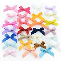 500pcs/lot Handmade Small Polyester Satin ribbon Bow Flower Tie Appliques Wedding Scrapbooking Embellishment Crafts Accessory