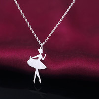 925 sterling sliver ballet dancer necklace,personalized fashion ballet dancer necklace,a perfect gift