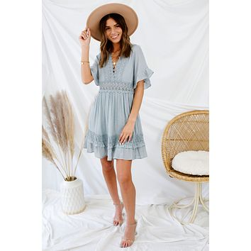 Completely Captivated Dress - Light Blue