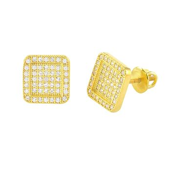 Screwback Earrings Yellow Gold Plated Pave CZ Cubic Zirconia 9mm Rounded Frame