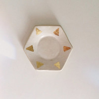 MADE TO ORDER porcelain hexagon ring dish with gold triangles