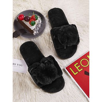 Pom Pom Decor Open Toe Fluffy Slippers