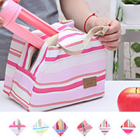 2-Pack Striped Insulated Lunch Bags