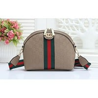 GUCCI fashion hot seller shopping single shoulder bag with embossed stripe for ladies Khaki