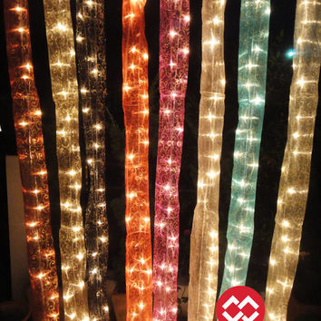 Sale Set of 2 Hanging Organdy Silk 2m. Fairy String 35 Lights Asian Design Party Patio Wedding Gift Home Decoration