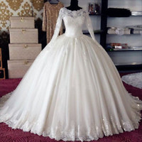 Long Sleeves Ivory Bridal Wedding Dress with Beading Custom Size 0 2 4 6 8 10 12