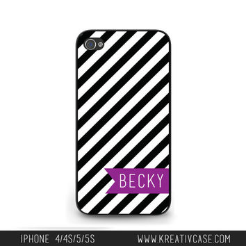 Monogrammed iPhone Case, iPhone 4, iPhone 4S, Diagonal Stripes iPhone Case, Personalized iPhone Cover - K215