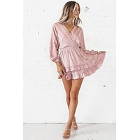 The Show Must Go On Mauve Ruffle Dress