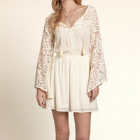 White Lace Patchwork Trumpet Sleeves Beach Dress