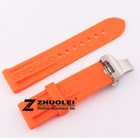 Watch band 24mm Orange Mens Rubber Sport Diver Watch Strap Band Braclets For PAM Watch