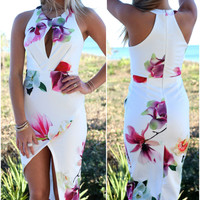 Pearl City Sleeveless White Floral Maxi Dress