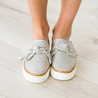 Gray Striped Slip On Sneaker