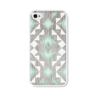 Geometric iPhone 4 Case - Plastic iPhone 4s Case - Wood Tribal Southwest iPhone Case Skin - Mint Green Brown White Cell Phone For Him