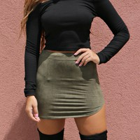 Dance With Me Olive Round Hem Faux Suede Skirt