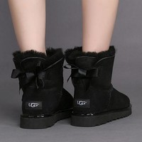 Tagre™ UGG Bow Leather Winter Wool Snow Boots Shoes