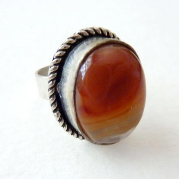 Statement Ring. Red Agate. Handmade Bohemian Vintage Jewelry. Size 8