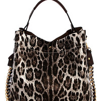 This sassy silver/black leopard print bag features smooth textured vegan leather with extra small removable bag inside, double bags design, and magnetic button closure for a large bag and zip closure for a small removable bag, top brown color leatherette h