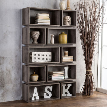 Furniture of America Cassidy Tiered Distressed Grey 10-Shelf Open Bookcase   Overstock.com Shopping - The Best Deals on Media/Bookshelves