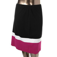 Jones New York Womens Plus Striped Pull On Knit Skirt