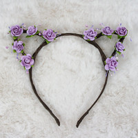 Lilac Cat Ears - Flower Cat Headband - Cat Ears Headband - Kitty Ears -  Coachella Festival - Kitten Play Ears - Petplay - Kittenplay