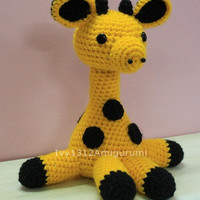 "Giraffe 7.48""- Finished Handmade Amigurumi crochet doll Home decor birthday gift Baby shower toy"
