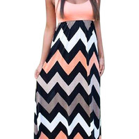 Zigzag Sleeveless Maxi Dress In Pink