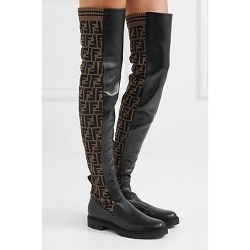 Fendi Logo-jacquard Stretch-knit And Leather Over-the-knee Boots #874