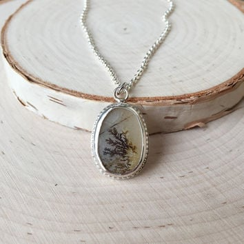 New! Dendritic Agate Pendant in .925 Sterling Silver with Rolo Chain, Handmade Gemstone Bezel Pendant, Layering Necklace, Anniversary Gift