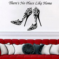 There's No Place Like Home Wall Decal Quote Women's Shoes Decor Butterfly Wall Decals Bedroom Home Interior Nursery C565