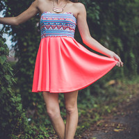 Neon Aztec Party Dress in Coral