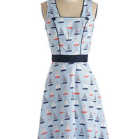 Nautical Long Tank top (2 thick straps) A-line Sail Away With Me Dress