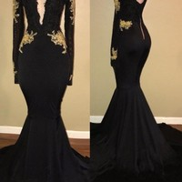 Black Long Sleeve Mermaid Backless Prom Dress