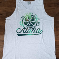 "HIC ""Aloha Glow"" Mens Gray Tank Top"