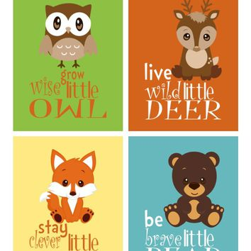 Woodland Nursery Decor Set of 4 Prints, Grow Wise Owl, Live Wild Deer, Stay Clever Fox, Be Brave Bear