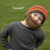 Beard Hat- Grey and Neon Orange - All sizes- Bearded Beanie